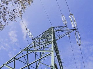 green high voltage pylons view from above