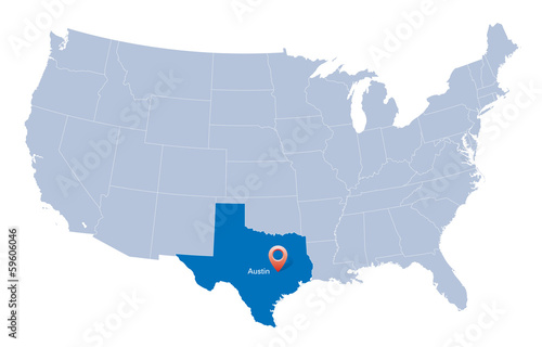 map of USA with the indication of State of Texas and Austin