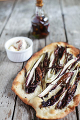 Flatbread with radicchio, chili oil and cottage cheese spread