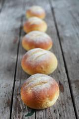 Cornmeal bread rolls, briosche round sandwich snack