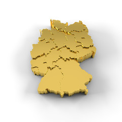 Germany map 3D gold with states stepwise and clipping path