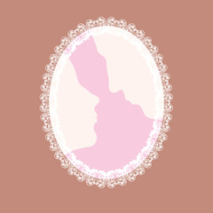 couple in love silhouette, vector illustration, white doves orna