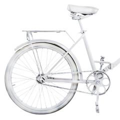 Fragment of retro bike isolated on white background
