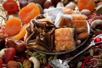 oriental sweets, nuts and dried fruits