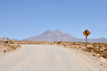 Gravel road in Atacama desert (Chile)