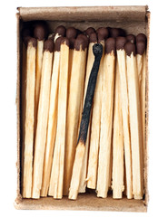 burnt match and a whole match