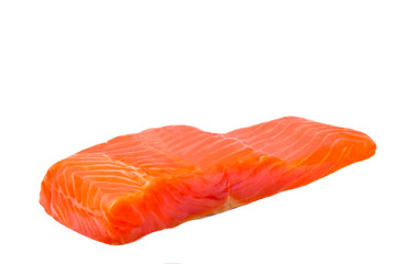 Fillet of salmon - trout on a white background.