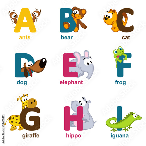 alphabet animals from A to I - vector illustration