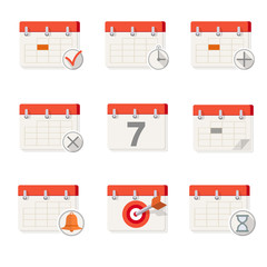 Flat Calendar Icons