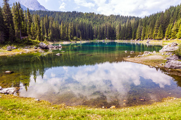 lake in Dolomites.