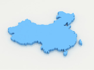 3d Map of China in national flag colors