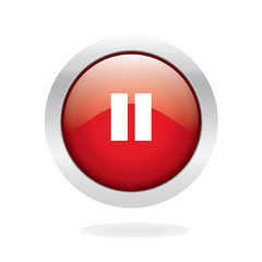 Pause glossy button with white background