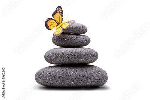 Butterfly on a stack of balanced stones