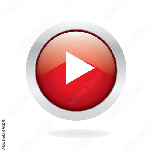 Play media button, Red Glossy EPS 10