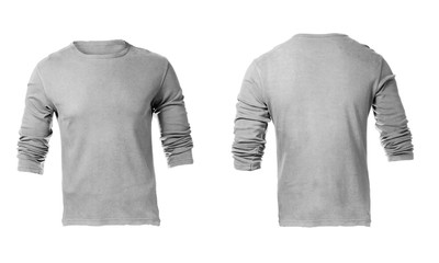 Men's Blank Grey Long Sleeved Shirt Template