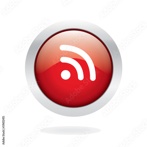 Wifi signal glossy button with white background