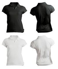 Women's Blank Black and White Polo Shirt Template