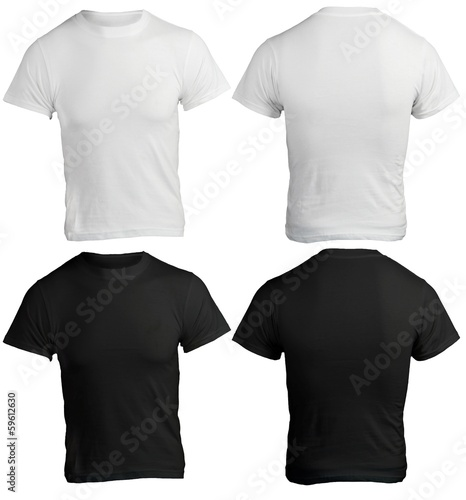Men's Blank Black and White Shirt Template - 59612630