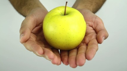 Hands Offering apple Healthy Diet Cocncept