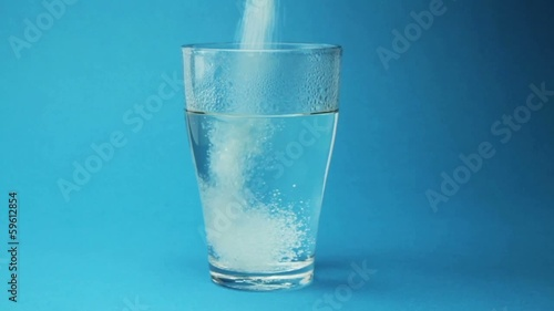 Flu Medicine Powder Dissolving in Water