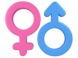 3d illustration of Male and female signs.