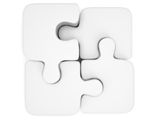3d white blank puzzle isolated