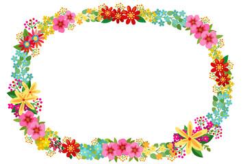 カラフルな花の額縁