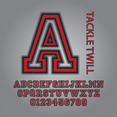 Red Tackle Twill (2) Alphabet and Numbers Vector