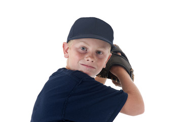 young boy baseball player portrait pitching left handed