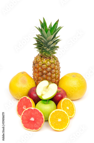 collection fruits on white background
