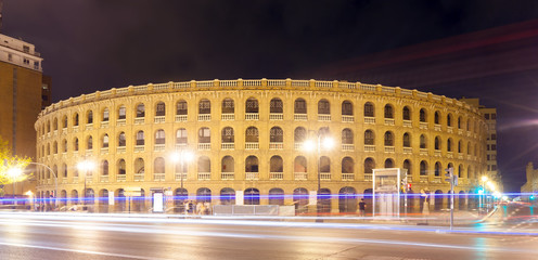 Plaza de toros in night. Valencia