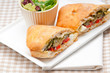 ciabatta panini sandwichwith vegetable and feta