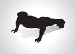 Silhouette illustration of a man figure doing push ups