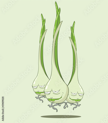 create cartoon green onion