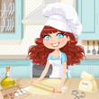 Cute curly hair girl baking cookies isolated on kitchen