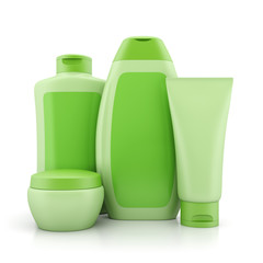 Group of green cosmetic containers