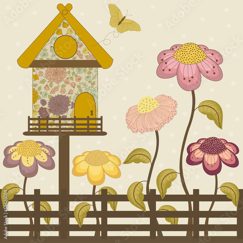 Floral house with spring flowers