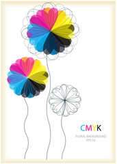 color vector CMYK flowers frame with place for text