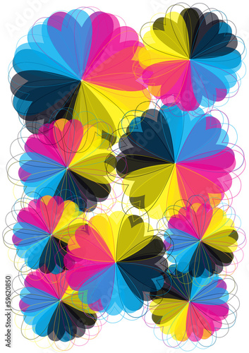 vector background with cmyk flowers