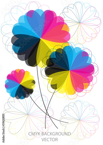modern vector background with cmyk flowers