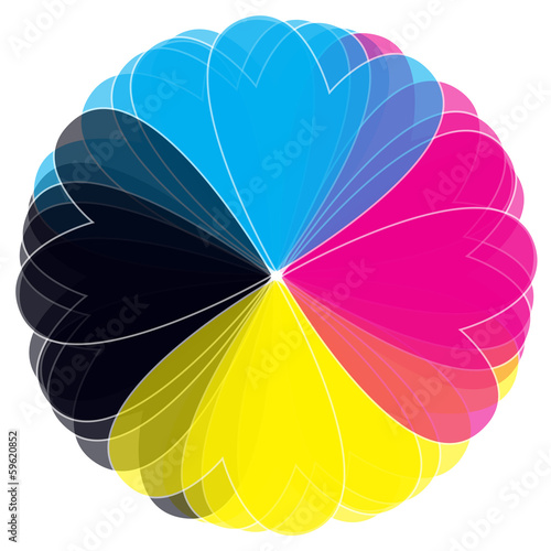 vector CMYK flower isolated on white background
