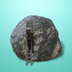 Businessman climbing on wooden ladder to top of rock
