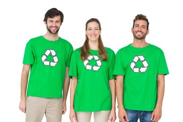 Young people wearing recycling symbol t-shirts