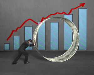 Businessman pushing money circle with growing red arrow and char