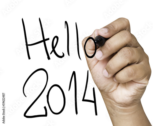 Hellow 2014 hand writing on a transparent board