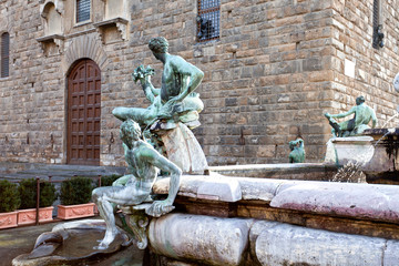 Detail of Neptune fountain in Florence