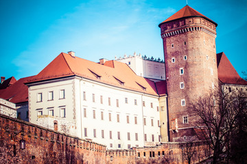 Medieval gothic Towers at Wawel Castle,Cracow,Poland