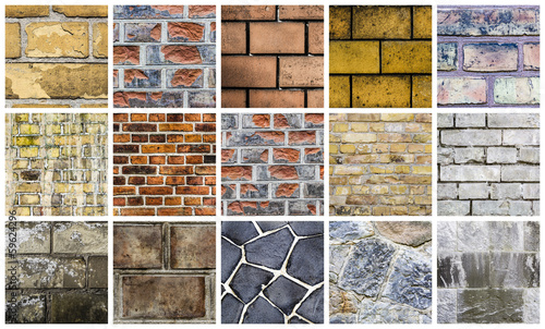 collection of brick wall backgrounds, isolated on white