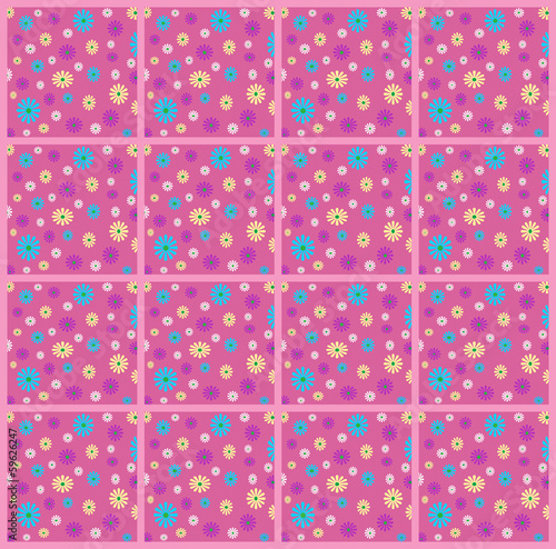 Pink floral squares pattern illustration