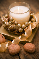 Decorative festive candles on the table.